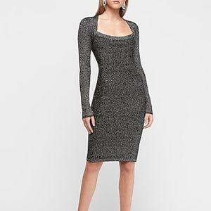 Express Silver Metallic Sweater Dress sz L NWT
